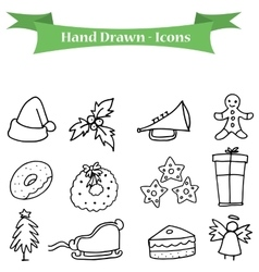 Hand draw of christmas holiday icons set vector