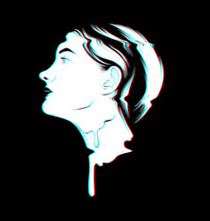 Hand drawn of melting girl isolated creative vector