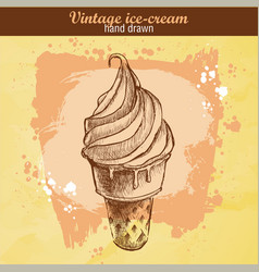 Hand drawn sketch ice cream cone vector