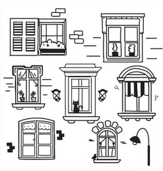 Hand drawn windows vector image