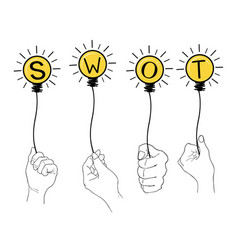 Hand holding light bulb with swot analysis strateg vector
