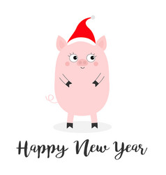 happy new year pig piglet standing santa hat vector image