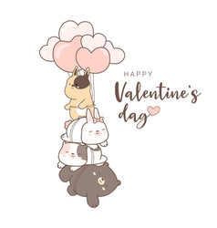 Happy valentines day with cute animal cartoon vector