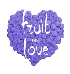 Heart bright blueberries vector