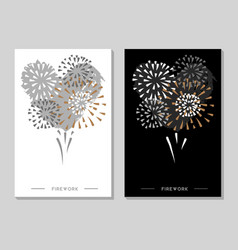 holiday greeting postcard with firework vector image