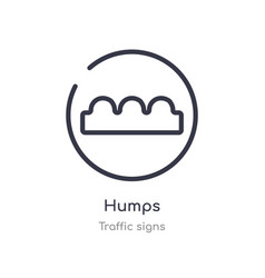 Humps outline icon isolated line from traffic vector