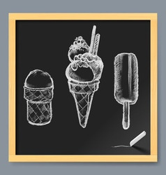 Ice cream drawing on a blackboard vector image