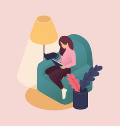 isometric young women spending weekend at home vector image