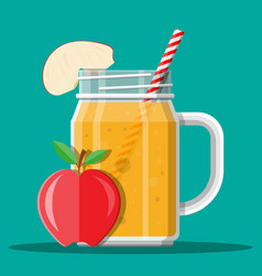 jar with apple smoothie with striped straw vector image