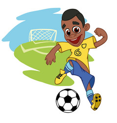 joyful boy playing football vector image