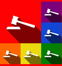 justice hammer sign set of icons with vector image