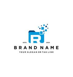 Letter r file folder logo design vector