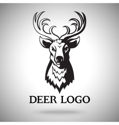 Logo template with black deer head For vector