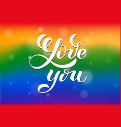 love you hand written lettering lgbt romantic vector image