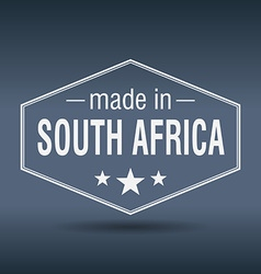 Made in South Africa hexagonal white vintage label vector