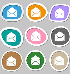 Mail envelope symbols Multicolored paper stickers vector