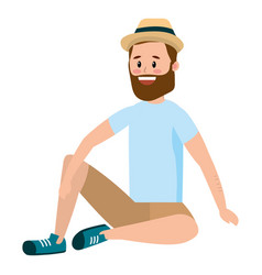 Man with beard and hat face vector
