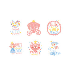moms little princess labels set cute emblems vector image