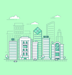 mono line urban landscape vector image