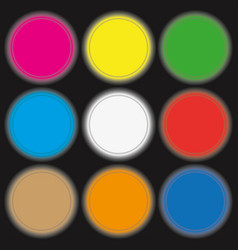 Neon colored circle buttons vector
