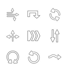 Nine flat modern arrows vector