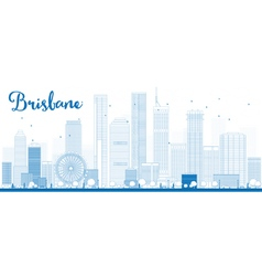 Outline Brisbane skyline vector