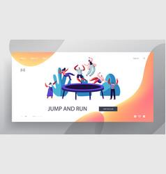 people jump on trampoline website landing page vector image
