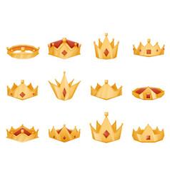 Polygonal royal crown head power 3d cartoon icons vector