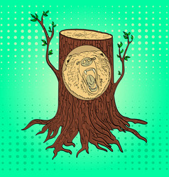 pop art carved wooden bear portrait from a tree in vector image