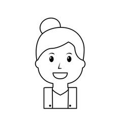 portrait happy woman female cartoon vector image