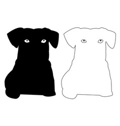 Pussy dog silhouette outline icon eps set vector