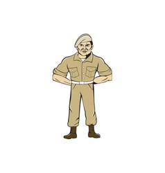 Ranger Standing Attention Cartoon vector
