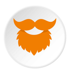 red beard and mustache icon circle vector image
