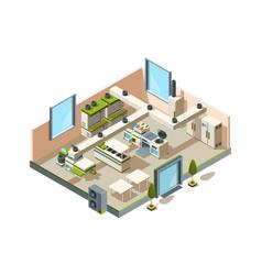 restaurant kitchen cafe interior with furniture vector image