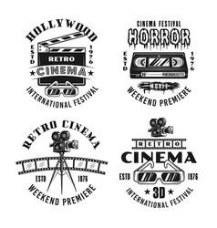 Retro movies and cinema set four emblems vector