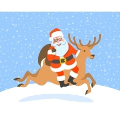 Santa Claus with gifts rides on Christmas deer vector image
