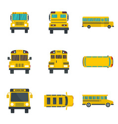 School bus back kids icons set flat style vector