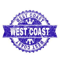 Scratched textured west coast stamp seal with vector