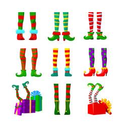 set icons elves legs christmas design elements vector image