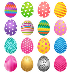 set of colorful eggs for easter day vector image vector image