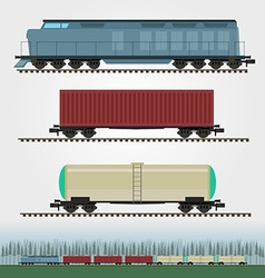 Set of freight train cargo cars Container tank vector