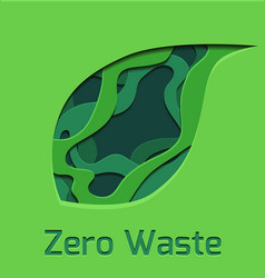set of green 3d tree leaf cut out from paper zer vector image