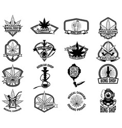 Set of vintage emblems with medical marijuana vector