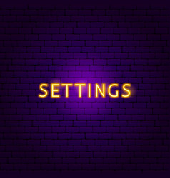 settings neon text vector image