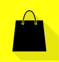 shopping bag black icon with flat vector image