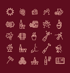 simple set wine related line icon vector image