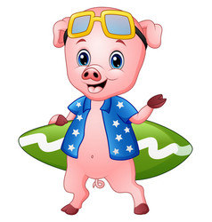smiling pig cartoon with surfboard vector image