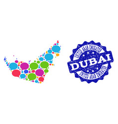 Social network map of united arab emirates with vector