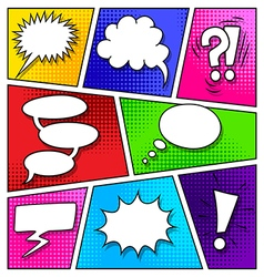 Speech bubbles on comic book page vector image