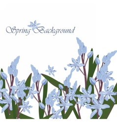 Spring Time Card with blue flowers vector